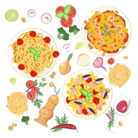 Set of Italian pasta dishes isolated. Top view for Mediterranean cuisine in flat design. Flat Art Vector Illustration