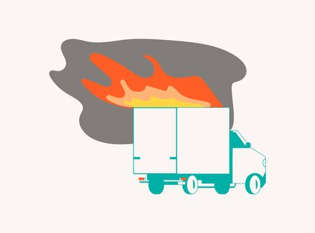 Car On Fire isolated on white. Burning vehicle for Property insurance against fire concept. Flat Art Vector Illustration