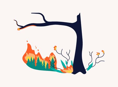 Forest On Fire and burning isolated on white. Wildfire disaster with Burning tree and firtrees concept. Flat Art Vector Illustration