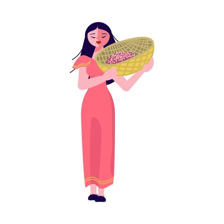 Asian female coffee farmer character hold basket with mature coffee beans. Flat Art Vector Illustration