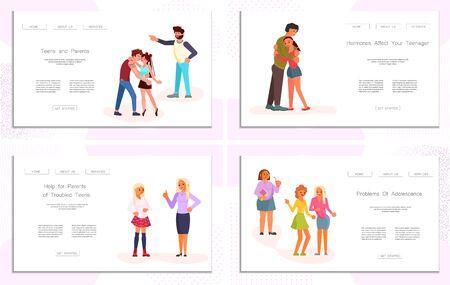Ensemble de modèle de page Web d'atterrissage Conflit entre parents et adolescents. Les parents grondent les enfants adolescents isolés sur fond blanc. Concept de problème d'adolescent au design plat. Illustration vectorielle d'art plat