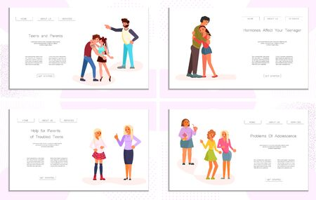 Set of Landing web page template Parent Adolescent conflict. Parents scolds children teens isolated on white background. Teenegers problem concept in flat design. Flat Art Vector Illustration