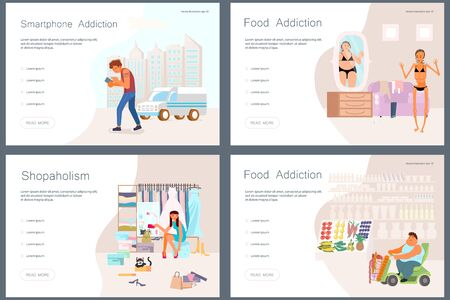 Set of Landing web page template Addicted and Bad habits people. Unhealthy lifestyle. Alcoholism drug addiction smoking gambling smartphone shopping and food addictions. Flat Art Vector illustration