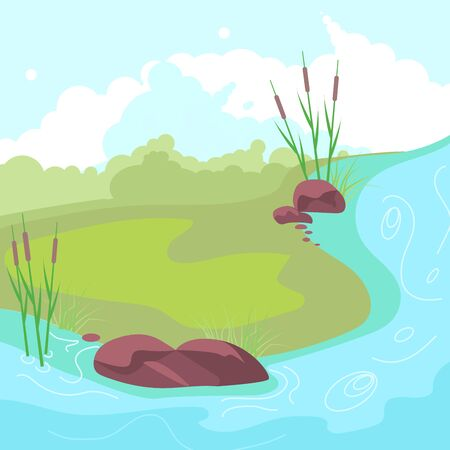 Natural cute landscape with blue river, reeds, stones and a small clearing in the center. Flat Art Vector illustration Ilustração