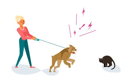 Woman walks with a dog in the park, her dog attacks a black cat. Bad luck and stressful situations concept. Flat Art Vector illustration