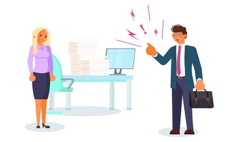 Bad luck and stressful situations. Female character experiences stress in everyday life. Angry boss and frightened employee. Bullying and harrassment at office concept. Flat Art Vector Illustration 向量圖像
