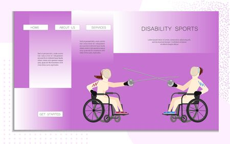 Landing web page template disability sport. Wheelchair users man and woman have a Fencing moves. Disabled male and female people with mask holding epees. Flat Art Vector Illustration
