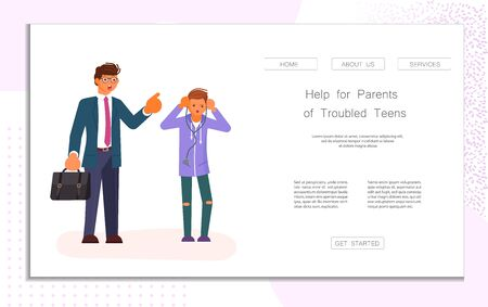 Landing web page template with Paternity and education of adolescents. Parent and teenager relationship concept. Father teaches his son teen. Flat Art Vector Illustration