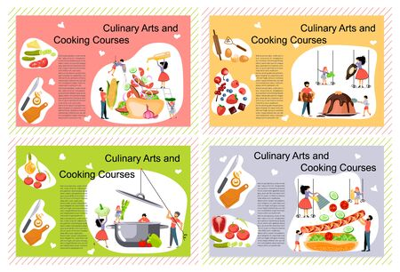 Set of Landing Page Templates of Culinary art and cooking courses. Happy family cooking together concept. Dad, mom, daughter, son enjoys of cookery. Flat Art Vector Illustration