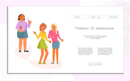 Landing web page template with Persecution at school. Girls mockery of fat girl concept. Schoolmates scoff and harassment of another. Flat Art Vector Illustration 向量圖像
