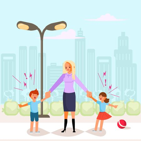 Bad luck and stressful situations. Female character experiences stress in everyday life. Tired and unhappy woman holds capricious children hands. Flat Art Vector Illustration