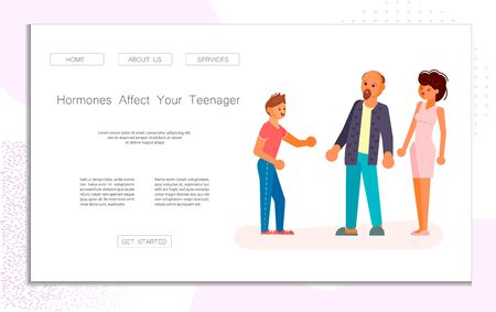 Landing web page template with parenthood and education of adolescents. Parents and teenager relationship concept. Worried son teen expresses his opinion to upset parents. Flat Art Vector Illustration 向量圖像