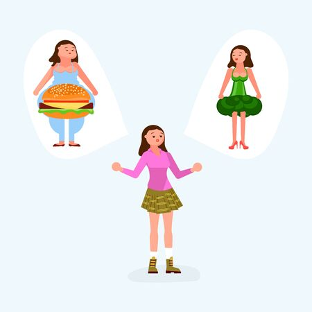 The girl makes her choice between a hamburger and broccoli. Healthy Food vs Fast Food Concept. Flat Art Vector Illustration