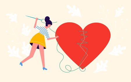 Metaphor of betrayal and relationship. Girl put together pieces and sutures a broken heart. Connect a broken heart and Save love concept for Valentines Day. Flat Art Vector Illustration