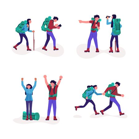 Set of hiking trekking people. Happy man and woman backpackers hikers travel together. Bundle of adventure and camping in nature. Flat Art Vector Illustration