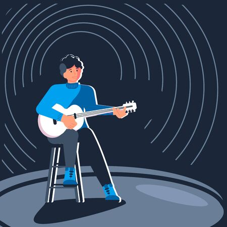 Folk music male artist. Man singer singing into a microphone. Retro poster performance. Flat Art Vector illustration