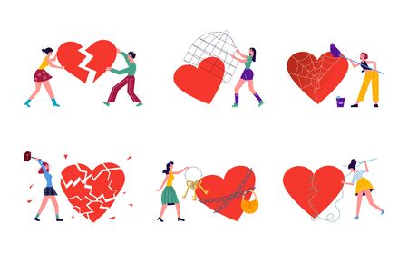 Metaphor of Love, Locked heart, betrayal and relationship. Man or woman is breaking heart and Save love concept for Valentines Day. Flat Art Vector Illustration Ilustrace
