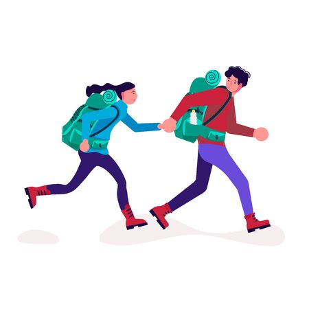 Hiking trekking people. Happy man and woman backpackers hikers travel together and running along a hiking trail. Adventure and camping in nature. Flat Art Vector Illustration