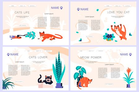 Set of Landing web page template with Cute and playful kitten damage houseplant. Guilty cat colorful concept isolated on white background. Naughty cat eating house plant. Flat Art Vector Illustration