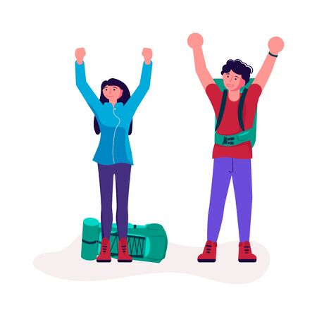 Hiking trekking people. Happy man and woman backpackers hikers travel together and enjoy their achievements. Adventure and camping in nature. Flat Art Vector Illustration Illustration