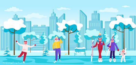 People walking in winter Park horizontal banner. City Building Panorama. Active Leisure Healthy Lifestyle Outdoors - skating, skiing, family carries ski. Flat Art Vector Illustration Foto de archivo - 138183491