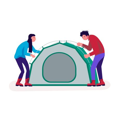 Hiking trekking people. Happy man and woman backpackers hikers travel together and using navigator. Adventure and camping in nature. Flat Art Vector Illustration