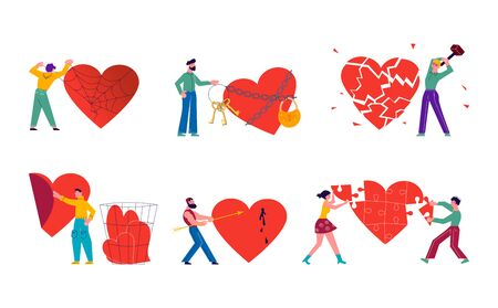 Metaphor of Love, Locked heart, betrayal and relationship. Man or woman is breaking heart and Save love concept for Valentines Day. Flat Art Vector Illustration Çizim