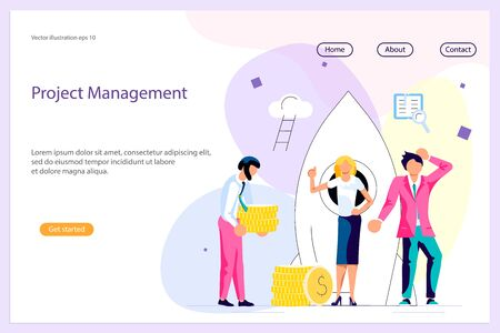 Landing web page template with Business people, man and woman building a new idea, in flat modern style. To join in a merger make a deal or collaborate concept. Flat Art Vector illustration