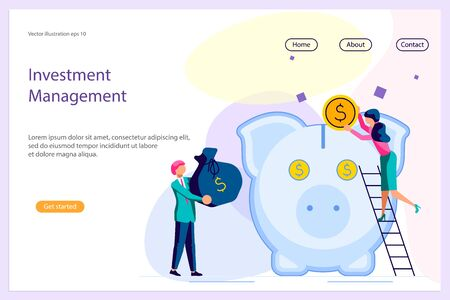 Landing web page template with Saving or accumulating money concept. Team of young businessmen and large piggy bank in the form of a piglet. Flat Art Vector illustration