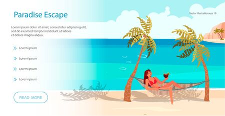 Landing web page template with Dream scene with Beautiful beach. People on summer vacation concept. A young woman lies on a Hammock between two palm trees and relaxes. Flat Art Vector illustration