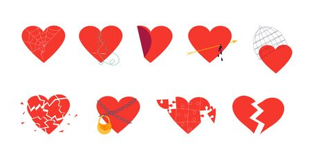 Red hearts set isolated on white. Clipart of broken heart sewing by thread, in chains closed on lock, covered a cage, in a web. Symbols of love, wedding and Valentines day Flat Art Vector illustration