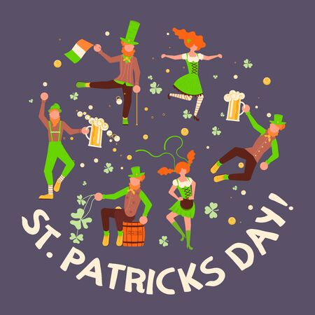 Greeting banners of Saint Patricks Day. Cute cartoon leprechauns holding mugs of beer dancing. Flat Art Vector illustration