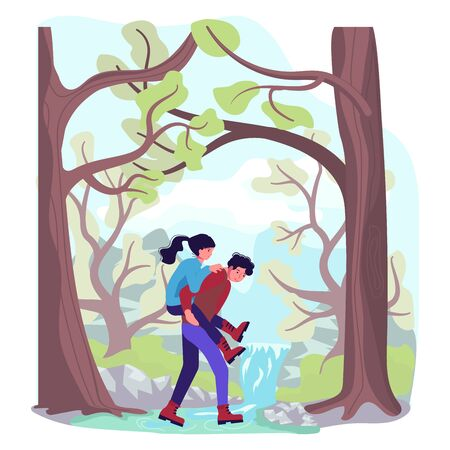Hiking trekking people. Happy backpackers hikers travel together, man carries a girl across the river. Adventure and camping in nature. Flat Art Vector Illustration