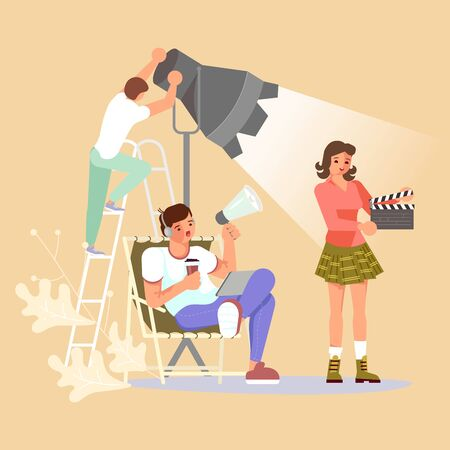 Movie motion production - the operator adjusts the light, the director speaks in a megaphone, an assistant with a clapperboard. Flat Art Vector Illustration