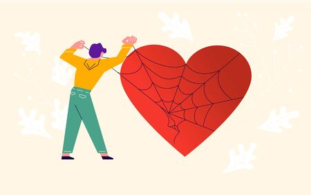 Metaphor of Love, Locked heart, Heart-free, betrayal and relationship. Man frees a heart entangled in a web of lies and deceit. Concept for Valentines Day. Flat Art Vector Illustration