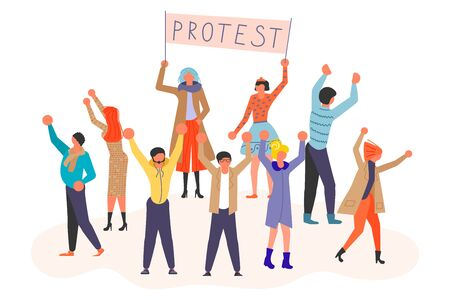 Public Street Protest concept. Group of people walking in a mass march formation on the demonstration. Vector illustration eps 10