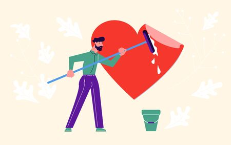Metaphor of Love, Locked heart, Heart-free, betrayal and relationship. Man clean a heart from lies and deceit. Concept for Valentines Day. Flat Art Vector Illustration Иллюстрация