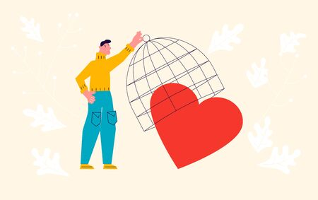 Metaphor of Love, betrayal and relationship. Man locks the heart in a cage. Connect a broken heart and Save love concept for Valentines Day. Flat Art Vector Illustration. Illustration