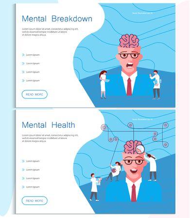 Web page of mental breakdown. Metaphor of Split Personality Disorder, Borderline Disorder, Schizophrenia man and psychologists help. Flat Art Vector illustration