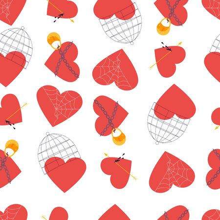 Seamless pattern with Red hearts. Clipart of broken heart sewing by thread, in chains closed on lock, covered a cage, in a web. Symbols of love, wedding and Valentines day Flat Art Vector illustration