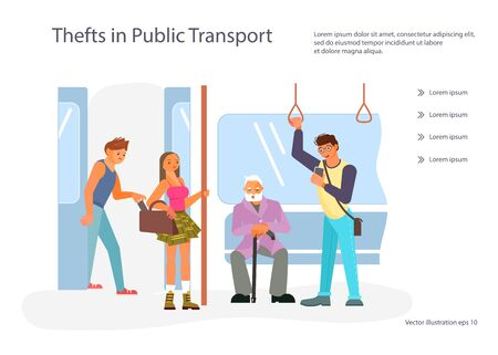 Landing web page template with Diverse passengers with gadgets in Public transport. Male and female characters in the Subway underground, train car modern interior. Flat Art Vector illustration