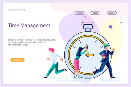 Landing web page template with Business People Running In Office. Mess And Deadline Tasks. Workload Disasters concept. Flat Art Vector illustration Archivio Fotografico - 139038541