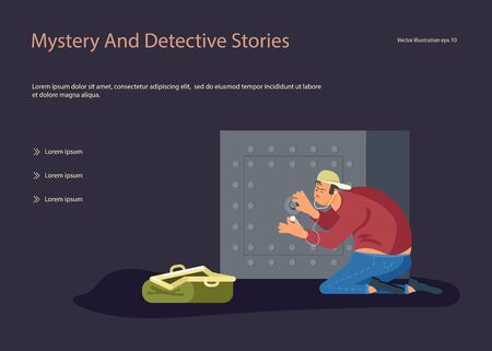 Landing web page template with Robber tries to crack a safe using a phonendoscope, next to an open bag for looted money. Flat Art Vector illustration Stock Vector - 139038452