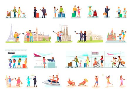 Big set of travelers. Different age and nationality people at airport, railway station, beach and sight place. Making a selfie, sunbathing, waiting for plane departure. Flat Art Vector Illustration