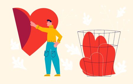 Metaphor of Love, betrayal and relationship. Man peels off the sticker heart and throws it into the trash. Connect a broken heart and Save love concept for Valentines Day. Flat Art Vector Illustration