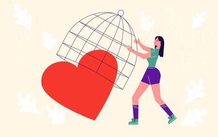 Metapher der Liebe, des Verrats und der Beziehung. Frau sperrt das Herz in einen Käfig. Verbinden Sie ein gebrochenes Herz und speichern Sie das Liebeskonzept für den Valentinstag. Flache Kunst-Vektor-Illustration.
