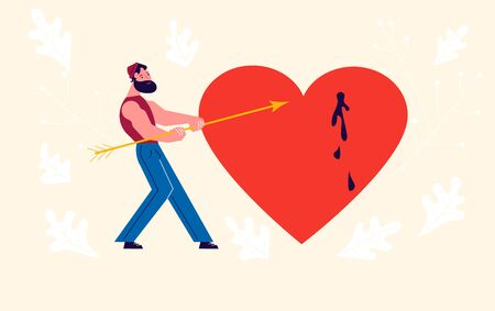 Metaphor of Love, betrayal and relationship. Man pulls an arrow out of a pierced heart. Connect a broken heart and Save love concept for Valentines Day. Flat Art Vector Illustration. Vektorgrafik