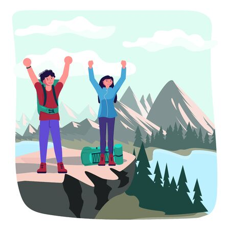 Hiking trekking people. Happy man and woman backpackers hikers travel together and enjoy their achievements on a cliff above the river. Adventure and camping in nature. Flat Art Vector Illustration