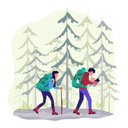 Hiking trekking people. Happy man and woman backpackers hikers travel together and using navigator in a conifer forest. Adventure and camping in nature. Flat Art Vector Illustration