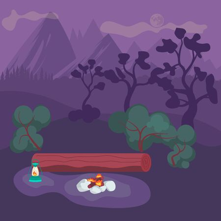 Natural cute night landscape with pine forest and a campfire in the center. Flat Art Vector illustration